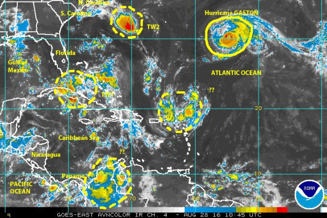 GOES EAST infrared satellite image of 28 August 2016 showing Hurricane GASTON in the central north Atlantic, a possible tropical depression approaching the Carolinas, and the long-lived tropical wave now between northern Cuba and the Bahamas moving  toward the Florida straits and southeastern Gulf of Mexico