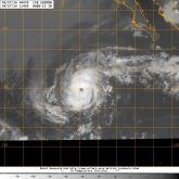 Infrared satellite view of Hurricane LESTER located 1500 kilometers west of Acapulco, Mexico