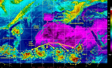 Infrared satellite image of 5 September 2016 showing abundant and strong tropical wave activity along the breadth of Equatorial Africa already emerging over warm Eastern Atlantic waters