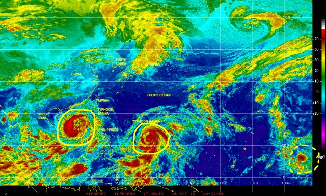 Enhanced infrared satellite image of 16 October 2016 over the Northwest Pacific showing typhoons SARIKA and HAIMA respectfully moving away from and approaching the Philippines!