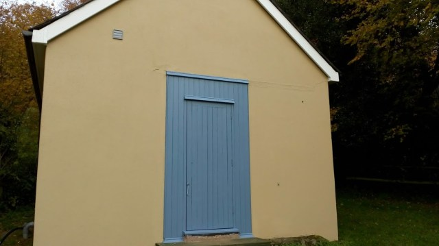 Workshop door blue
