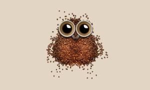 Stammtisch Beitragsbild Kaffebohnen und Kaffeetasse in Form einer Eule