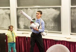 An air pump, PVC pipe and sprinkler valve are used in the design of the freshman class's T-shirt cannon.