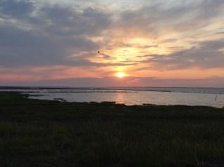 Die Sonne geht langsam über der Nordsee unter.