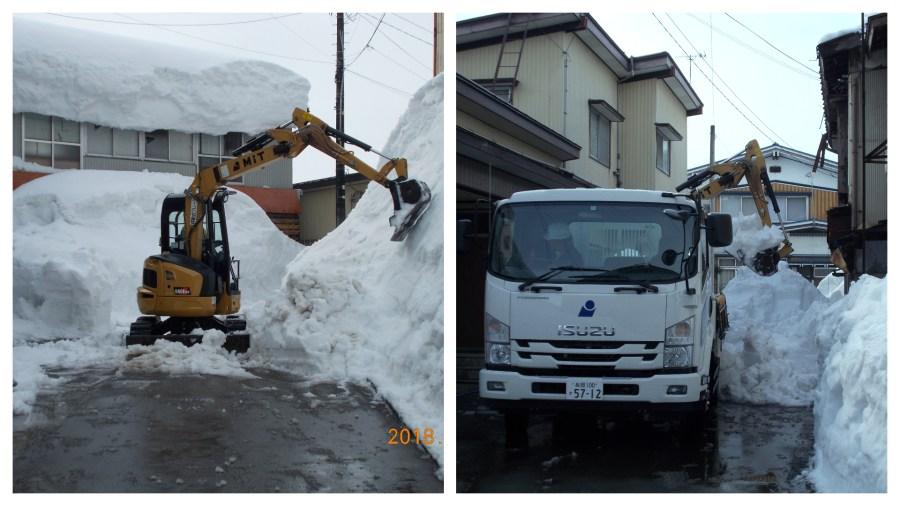 魚沼市まちなかにある空き倉庫屋根落雪の排雪作業を行いました!