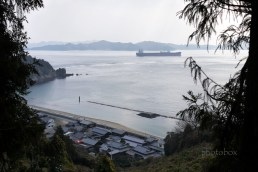 高松山から東側に野忽那島を望む。 タンカーがいるあたりに『スナメリ』が出現するという。
