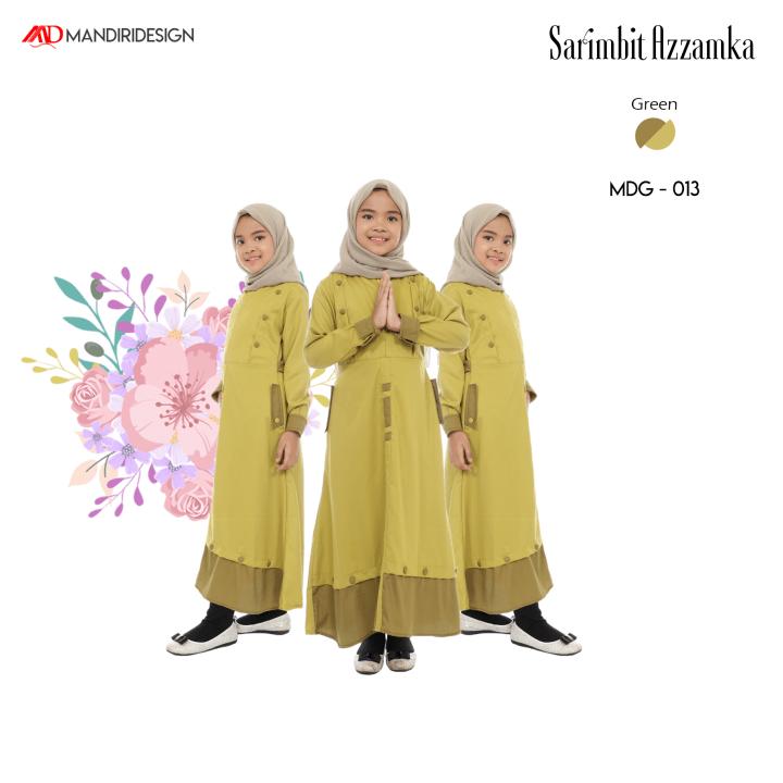 Baju Gamis Anak Sarimbit Azzamka Green MDG-013