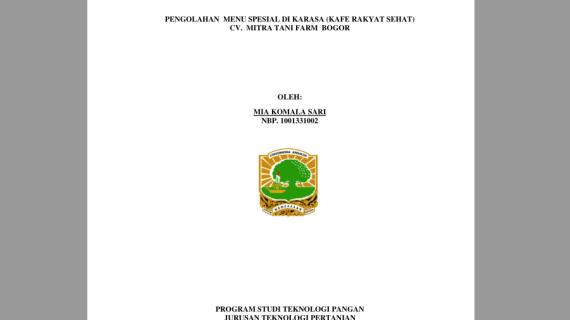 Pengolahan Menu Spesial Di KARASA (Kafe Rakyat Sehat) CV. Mitra Tani Farm Bogor