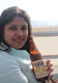 Akshita enjoying her beer