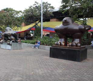 "The ""Birds"" at Plaza de San Antonio. The bird to the left was bombed and the one to the right was built after to depict the new and stronger Medellin"