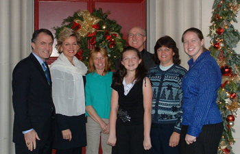 Dan Mulhern, Governor Granholm, Janet Lowman/Wreath Specialist, and Dan and Lorie Wahmhoff with daughters Nicole and 'Becca