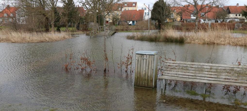 SE  VIDEO: Slotsmølleåen i Aabenraa oversvømmet igen igen…