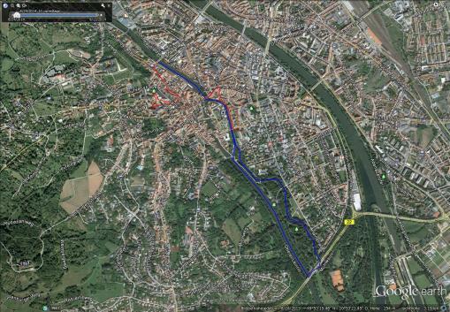 blau: Paddelstrecke, rot: Laufstrecke