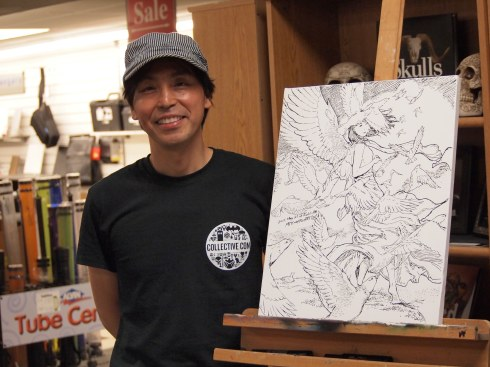 Winged girl Live Drawing with Maker Pen at Reddi-arts in Jacksonville, 2015