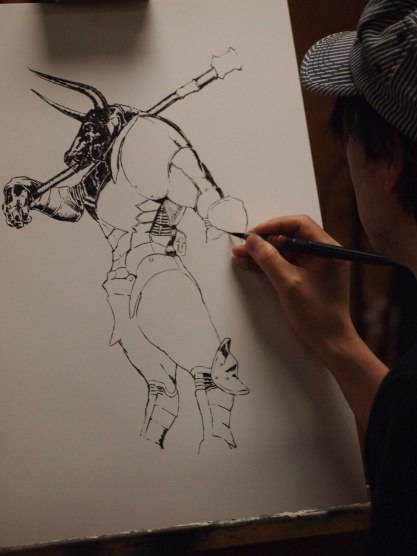 Minotaur Live Drawing in progress at Reddi-arts in Jacksonville, 2015