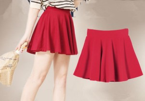 2013-fashion-High-Waist-Pleated-cotton-Shirred-Skirts-W3320