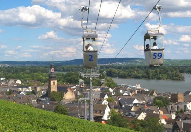 Rüdesheim von der Seilbahn aus gesehen. Foto: Rüdesheim Touristik / Walter