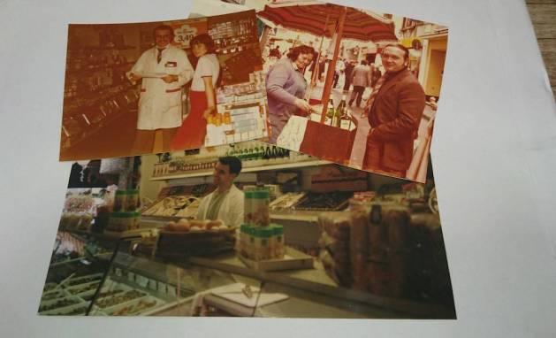 "3 Generation Lebensmittelhandel in Boppard: Mario Links Vater (oben l.), daneben die ""Linke Mudda"" in den 60er Jahren. Unten: Mario Link selbst am Anfang seiner Laufbahn."
