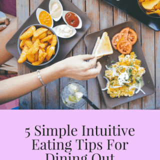 5 simple intuitive eating tips for dining out graphic