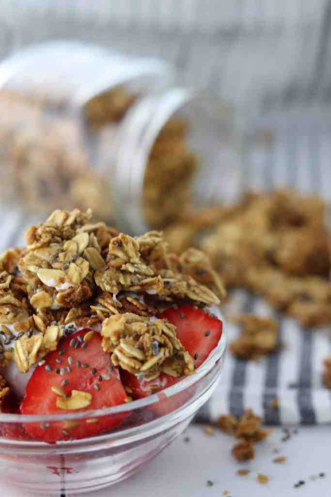 chia & flax granola on strawberry parfait