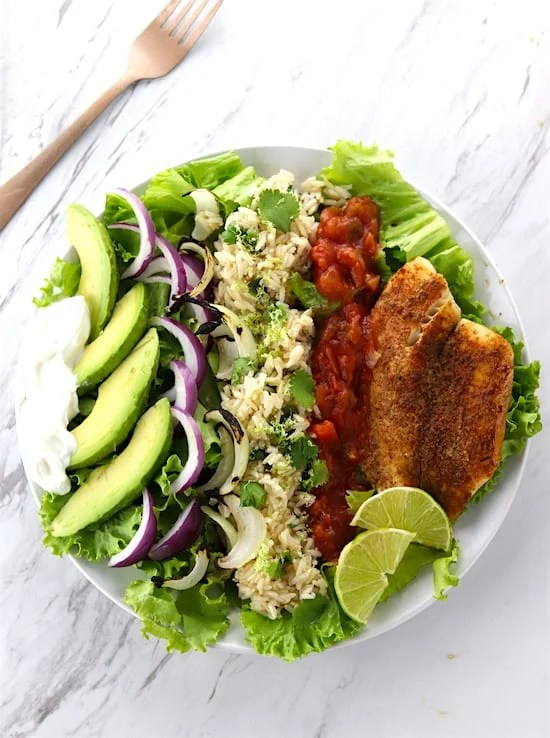 Southwest Tilapia Salad On Marble COunter