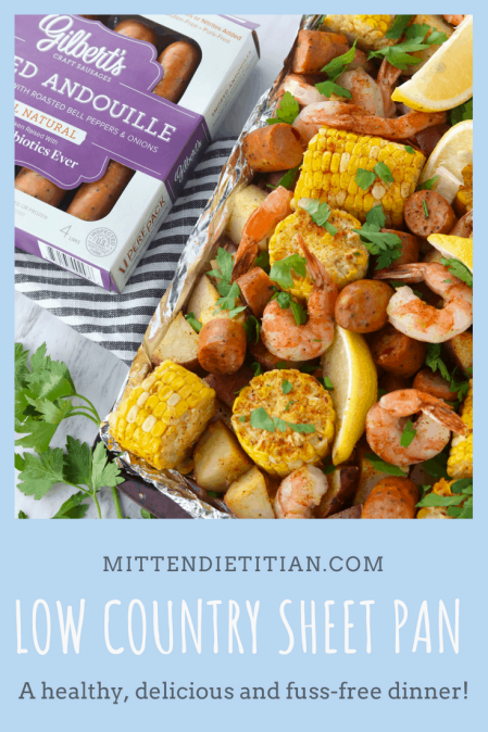 This low country sheet pan meal, made with Gilbert's Craft Sausages, it healthy, delicious, and fuss free!