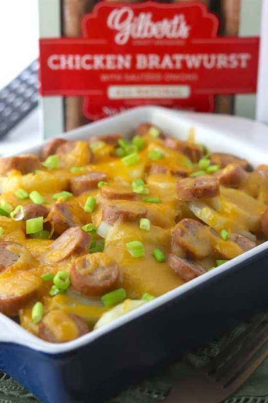 Beer Cheese & Chicken Brat Scalloped Potatoes