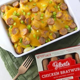 Beer Cheese & Chicken Brat Scalloped Potatoes