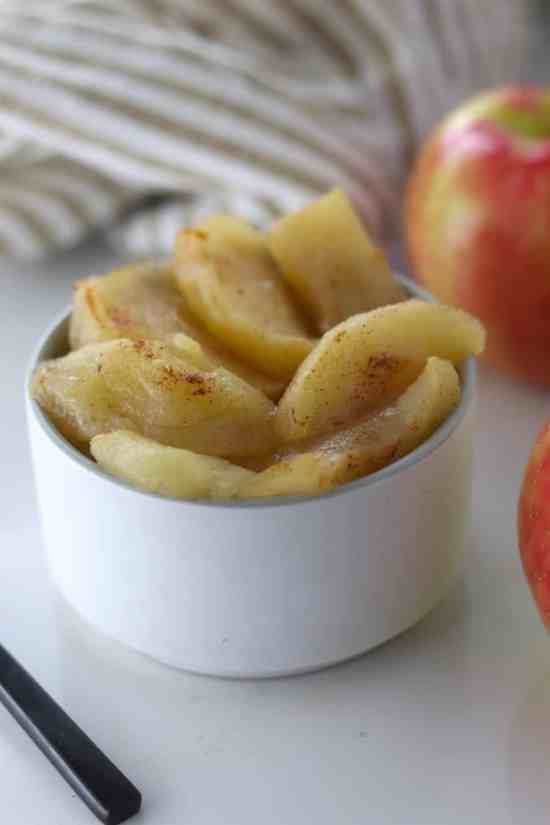 Crockpot baked apple close up