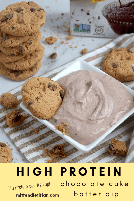 This high protein chocolate cake batter dip is delicious enough for dessert but healthy enough for a post workout treat! #healthy #postworkout #highprotein #glutenfree #cakebatter #chocolate #easy #twoingredient