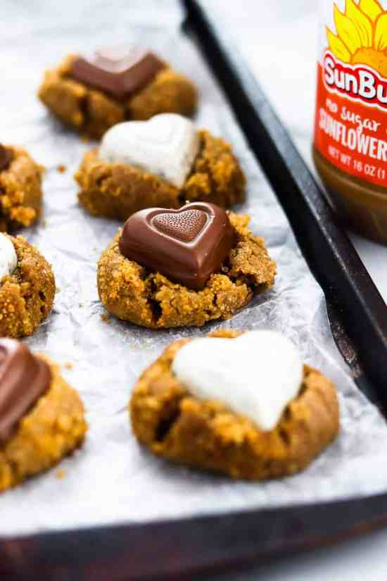 Whole wheat brown sugar SunButter Blossom Cookies
