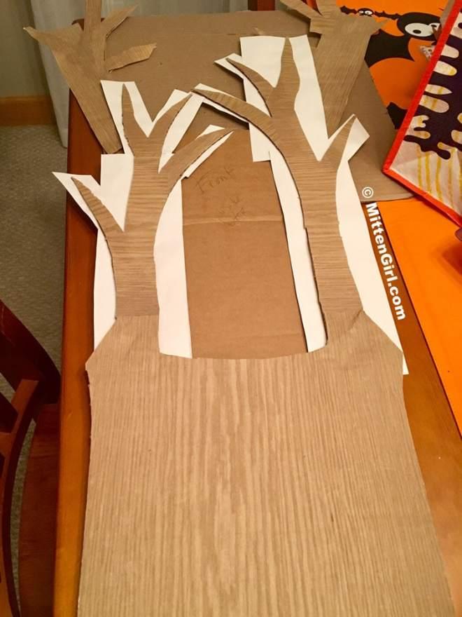 Tree costume starting to take shape.