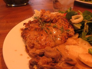 Thyme Crusted Chicken with Sauteed Apples and Cider Sauce