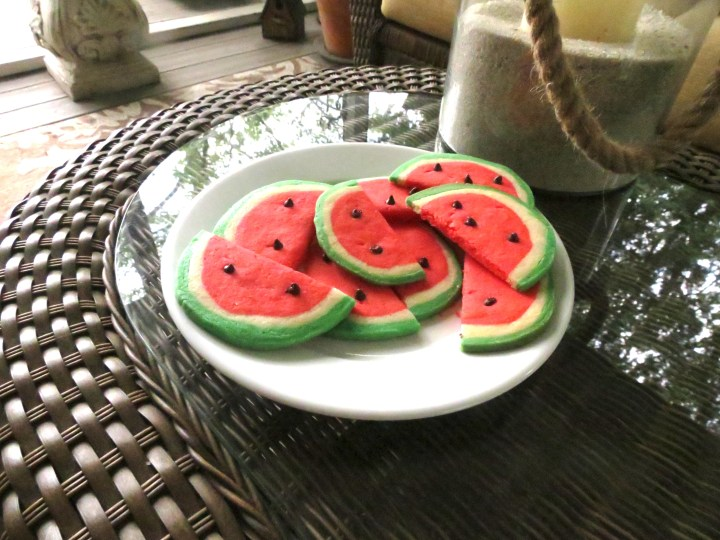 Watermelon Cookies on Porch