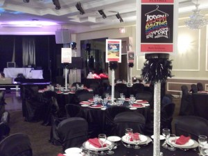 Room set up for a contemporary Bar Mitzvah