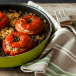 Kosher foods presented by stuffed tomatoes