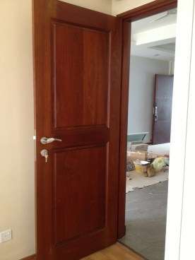 Varnished bedroom door
