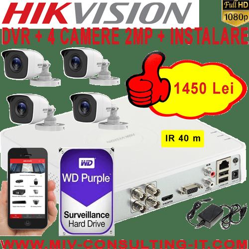 SISTEM SUPRAVEGHERE VIDEO HIKVISION AHD, 4 CAMERE 2MP, INFRAROSU 40m, HDD 1TB, SURSA ALIMENTARE, CONECTICA SI MANOPERA MONTAJ