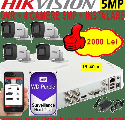 SISTEM SUPRAVEGHERE VIDEO HIKVISION AHD, 4 CAMERE 5MP, INFRAROSU 20m, HDD 1TB, SURSA ALIMENTARE, CONECTICA SI MANOPERA MONTAJ