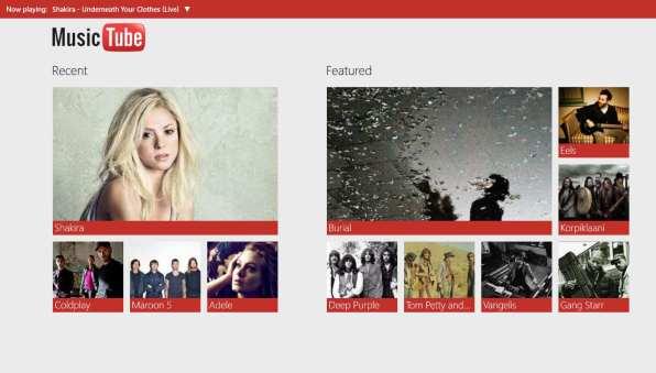 Aplicación MusicTube para Window 8