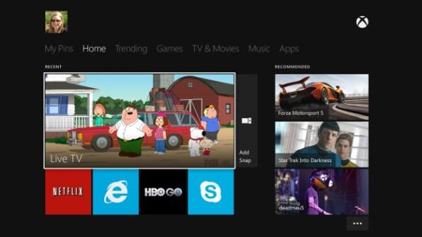 Pantalla de Inicio del Xbox One