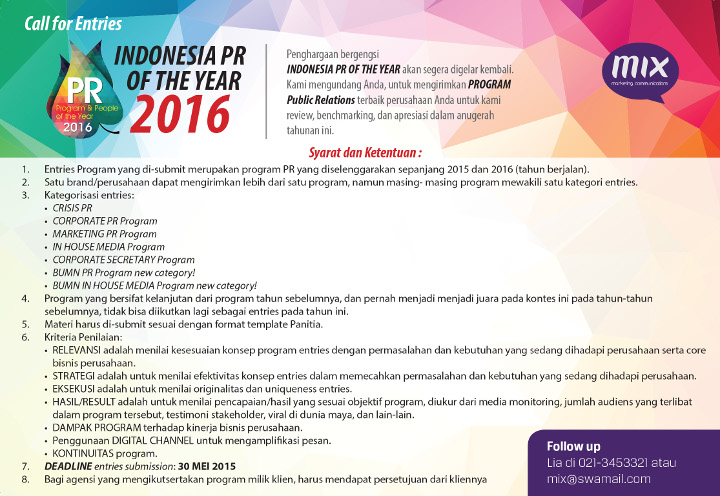 Call for Entries - Indonesia PR of The Year 2016