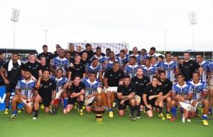 Team photo with both teams at the All Blacks v Manu Samoa rugby union test match at Apia Park. Samoa. Wednesday 8 July 2015. Copyright Photo: Andrew Cornaga / www.Photosport.nz