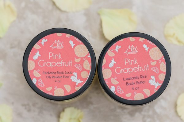 organic body butter and exfoliating sugar scrub pink grapefruit luxuriantly rich body butter