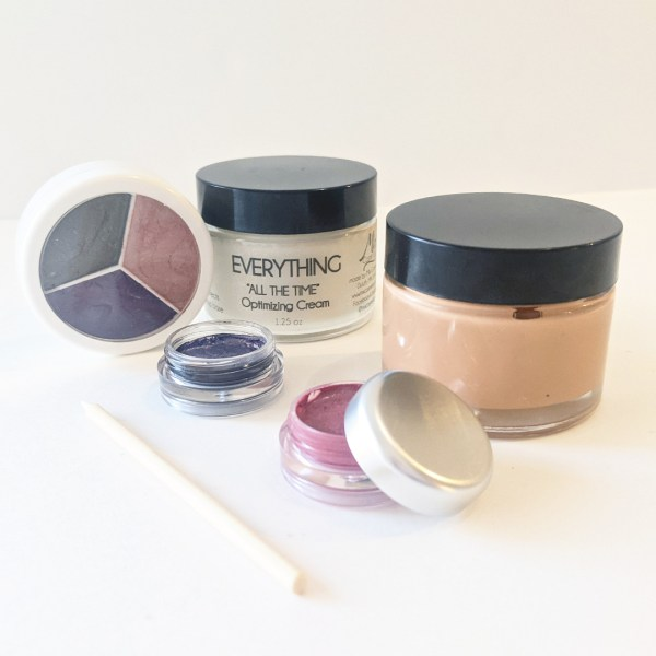 everything all day optimizing cream with makeup made with cream base including 3 color compact a lip cream, an eyeliner and a cream foundation