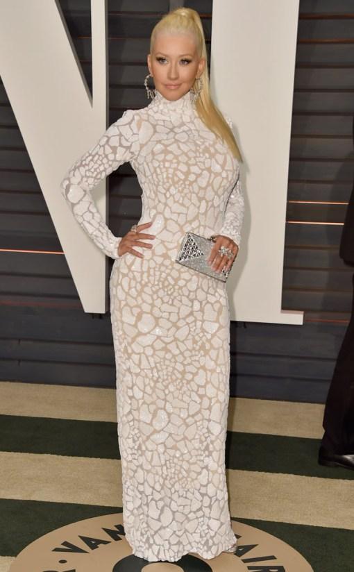 Christina Aguilera vestido after party oscar 2015