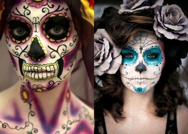 Maquiagem fantasia caveira mexicana macabra