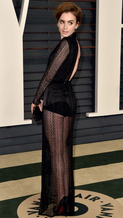 Lily Collins vestido after party oscar 2015