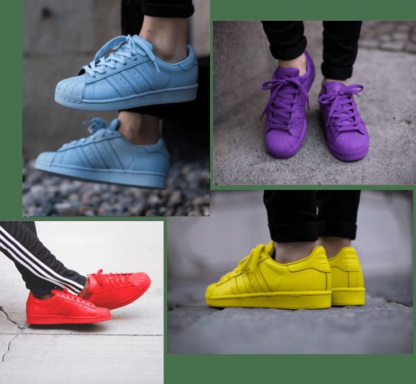 Pharrell Williams e Adidas tênis supercolor opções de cores
