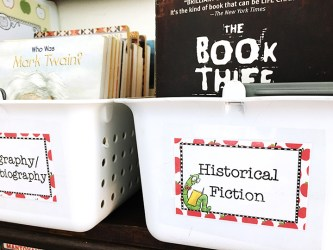 Book bins with labels: Biography/Autobiography, Historical Fiction